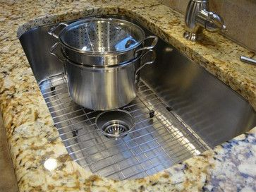 large single bowl sink with solid stainless steel sink grids - Kitchen Sink Grids