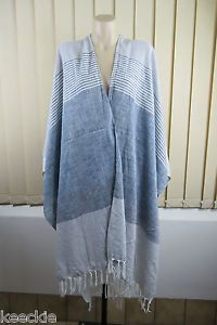 ONE Size Ladies Cotton Stripe Wrap Poncho Scarf Fringe Boho Chic Casual Look | eBay