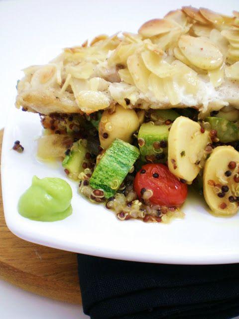 Badejo em Crosta de Amêndoas e Couscous de Quinoa | Figos & Funghis