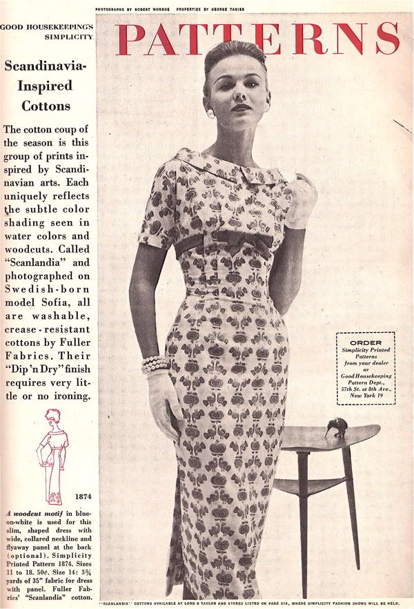 Good Housekeeping Magazine Fashion Spread 1957 - Scandinavian Cottons!