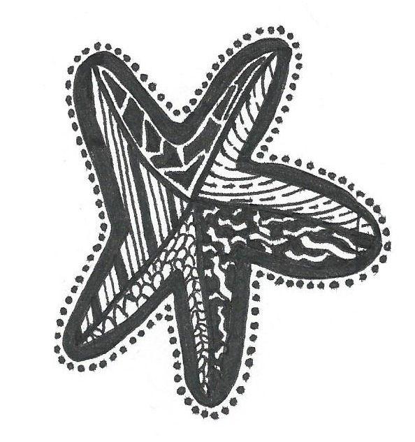 Starfish for council signal box - 2013 - pen. Drawing by Sara Ferrington. www.facebook.com/fershaw.art