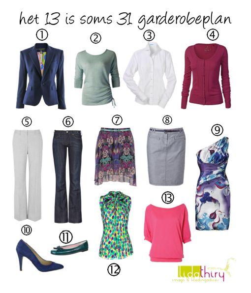 Het '13 is soms 31' garderobeplan. Met 13 kledingstukken een maand lang er elke dag anders uitzien. Het kan! Klik op de foto voor meer details. #Het13IsSoms31Garderobeplan