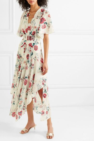c3d83fbda41 Maje - Shirred Floral-print Georgette Midi Dress - White in 2019 ...
