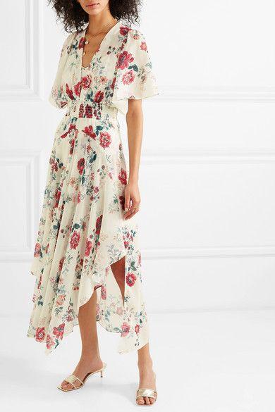 43d0f931ac6 Maje - Shirred Floral-print Georgette Midi Dress - White in 2019 ...