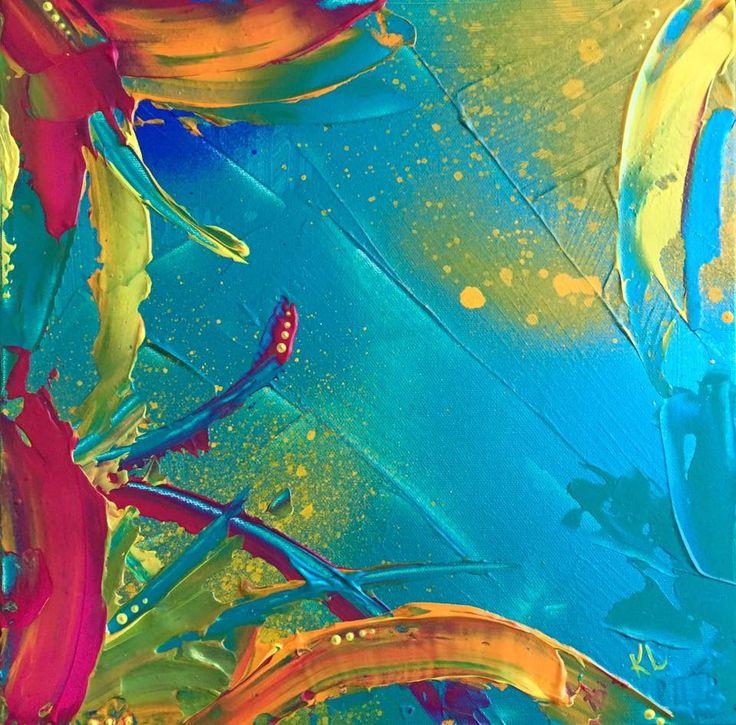 Tropique Toile abstraite Acrylique sur toile de coton 12''x12'' Karolanne Leduc Artiste Suivez-moi sur facebook Karolanne Leduc Artiste