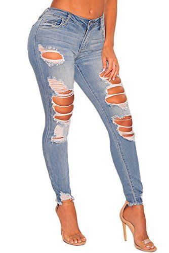 dbea42285206c Sidefeel Women Casual Ripped Denim Ankle Length Skinny Jeans