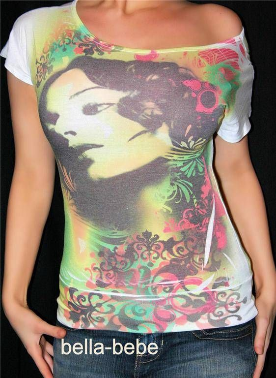 SEXY ASIAN GIRL CHINA DOLL TATTOO PRINT STRETCHY TOP S Baggy Banded 80's style #AGaci #Blouse #Casual