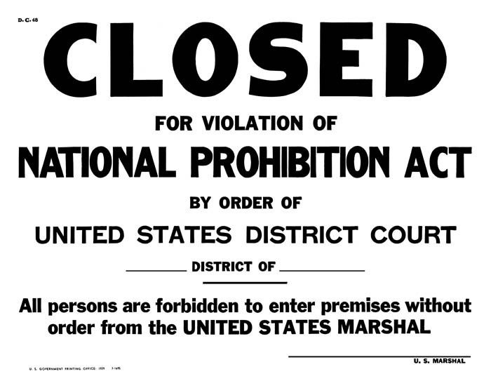 prohibition act on the front door