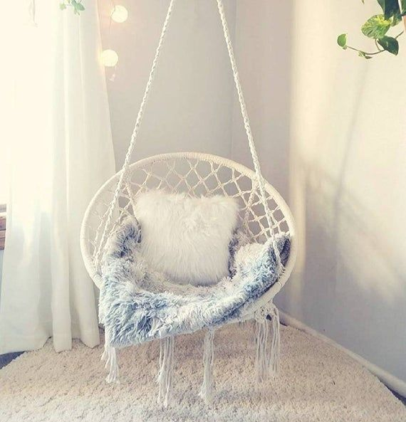 Boho dream catcher hanging chair rattan chair hammock swing macrame beige