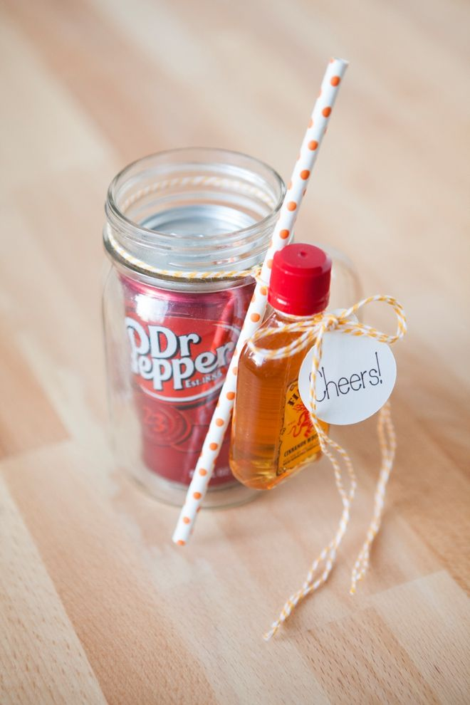 DIY // Cocktail Mason Jar Gift -- Dr.Pepper and Fire Ball!