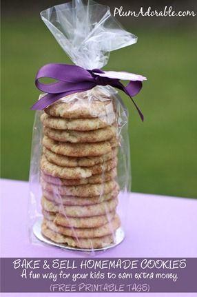 Bake Sale Cookies   FREE Printable Tags! Cute package idea.