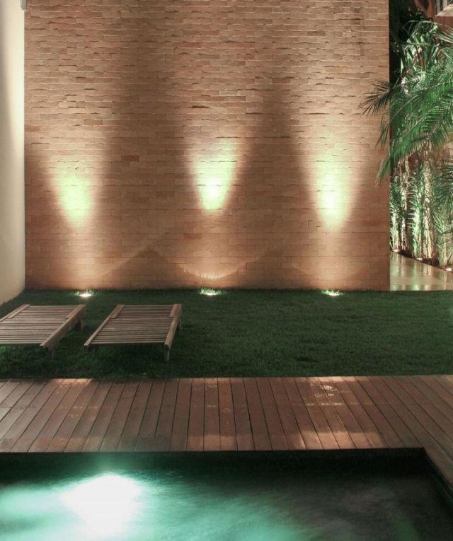 New garten terrasse wand stein bodenleuchten pool rasenflaeche