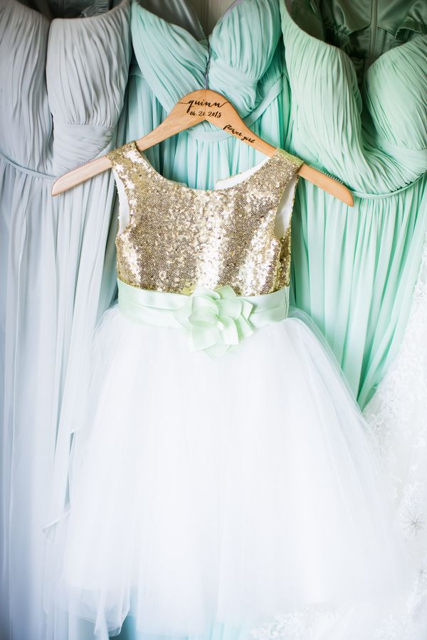Jillian's Mint and Gold Wedding. Cute mix and match bridesmaid dresses with gorgeous gold and mint bridesmaid dress.