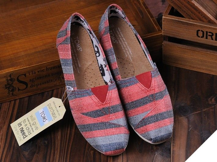 TOMS Shoes Red Lt Blue Stripe Women's Classics. TOMS outlet store online, which provide best TOMS shoes online.