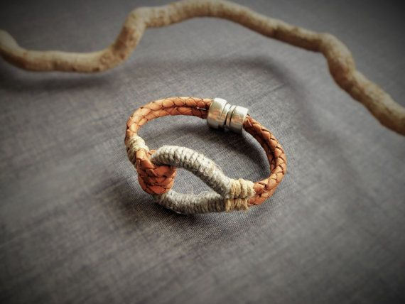 Tan Leather knot bracelet wrapped with linen by EvisHandmadeJewels