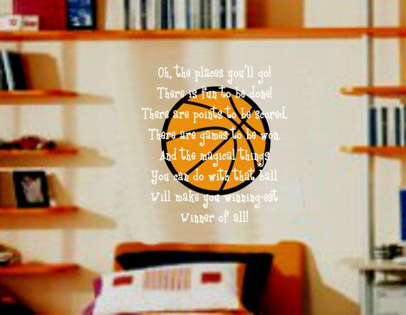 Sports Basketball and Quote Wall Decal Nursery Decor Boy or Girl