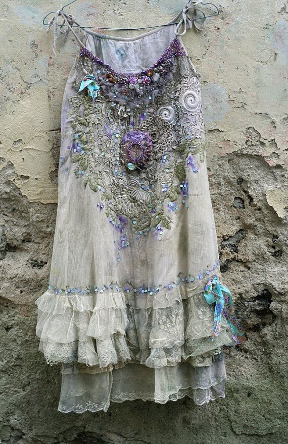 Boho Style Clothing: April Muse – romantic embroidered and beaded top / tunic, antique and vintage lake …