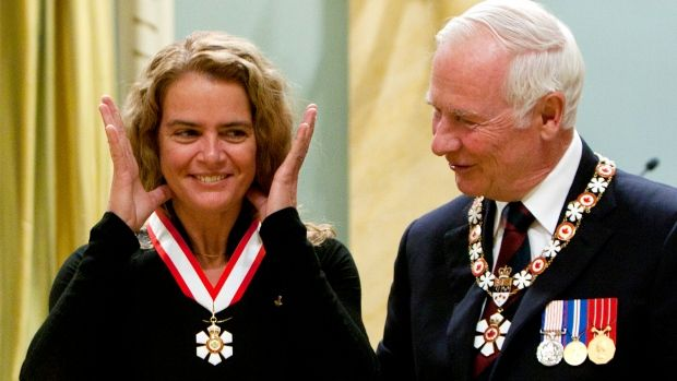 Canadian astronaut Julie Payette smiles after being awarded the Order of Canada by Gov. Gen. David Johnston at Rideau Hall in 2011. Payette will be named Johnston's replacement on Thursday.
