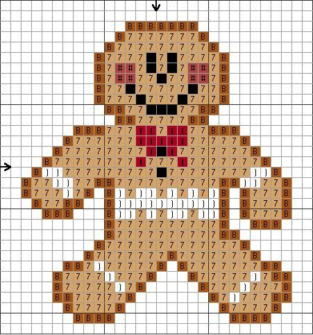 Tiny Gingerbread Guy Cross Stitch Pattern