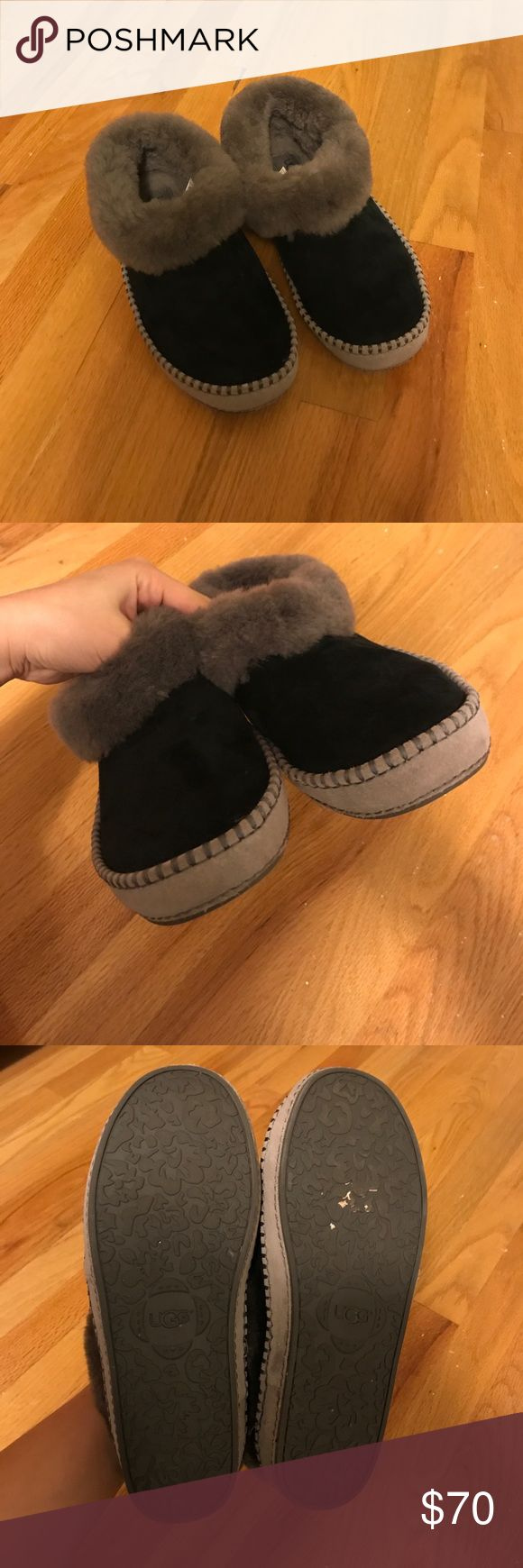 Wrin Black UGGs EUC. These UGGs are in almost perfect condition! There is very slight wear on the soles of the slipper due two wearing them outside once. These act as both indoor or outdoor slippers and have only been worn a few times (4-5x). They come sprayed with UGG water repellent. Please make an offer! UGG Shoes Slippers