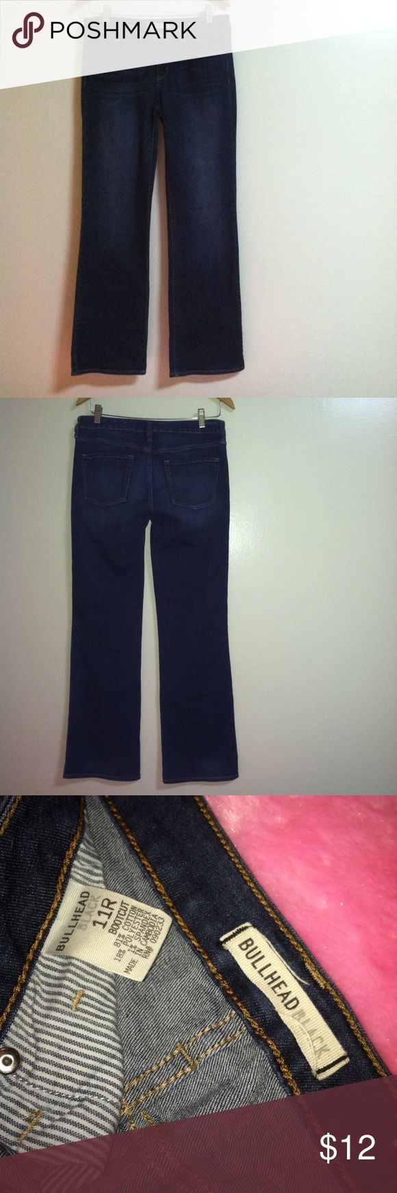 Bullhead Black bootcut jeans Bullhead Black bootcut jeans in a dark blue wash. Very good condition. Size 11 Regular Juniors. Approximate measurements laying flat- Waist 16 in, Inseam 32 in, Leg opening 9 in. Bullhead Jeans Boot Cut