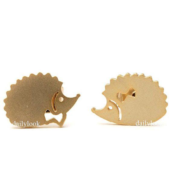 hedgehog studs, hedgehog earrings, hedgehog, animal earrings, girls earrings, cute earrings, animal jewelry, simple from DailyLookEtsy on Etsy. #hedgehog.