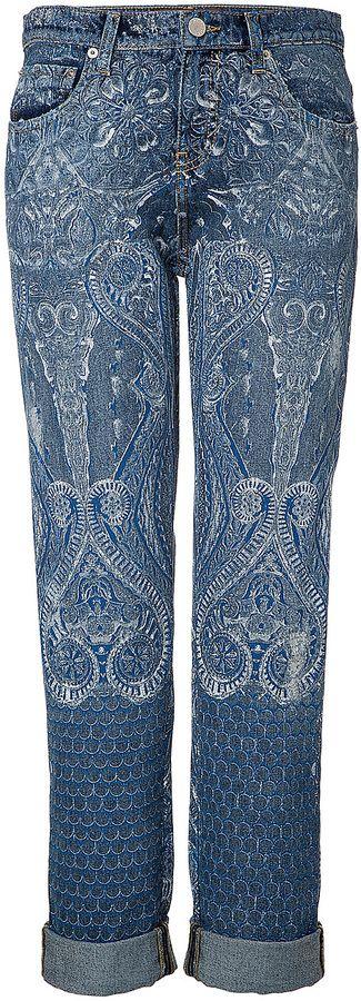 Roberto Cavalli Printed Boyfriend Jeans
