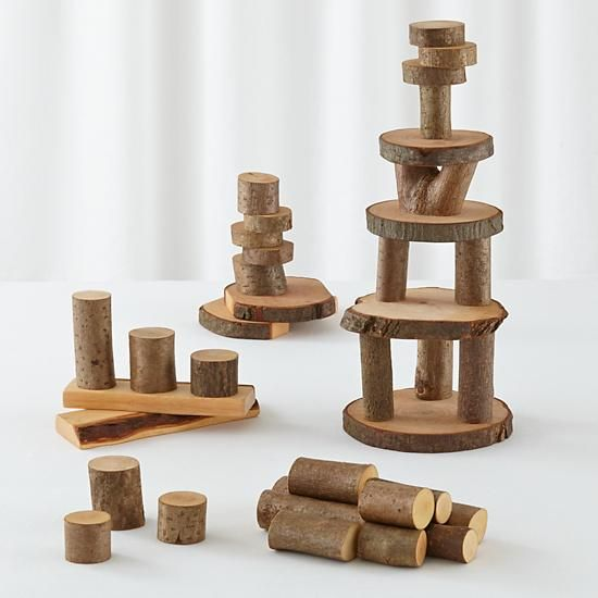 Junior Lumberjack Blocks in Wooden Toys & Blocks | The Land of Nod GOOD FOR WALDORF TABLE