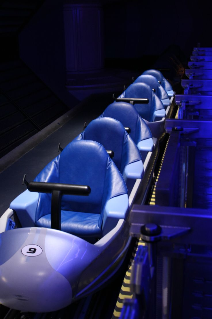 Space Mountain coaster seats. My sons first coaster - boy was I worried! Thought it would take forever for him to tell if he liked it or not. He Did.