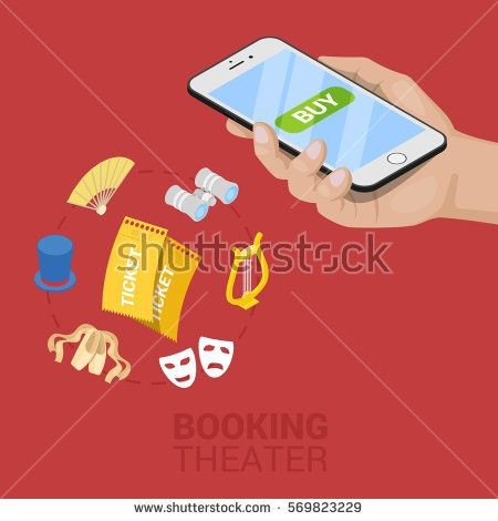 Isometric Online Theater Ticket Booking with Cellphone. Vector 3d flat illustration
