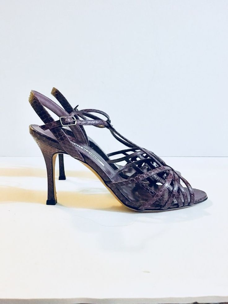 Authentic MANOLO BLAHNIK Snakeskin Purple Shoes Size 37.5 US 7.5 | eBay