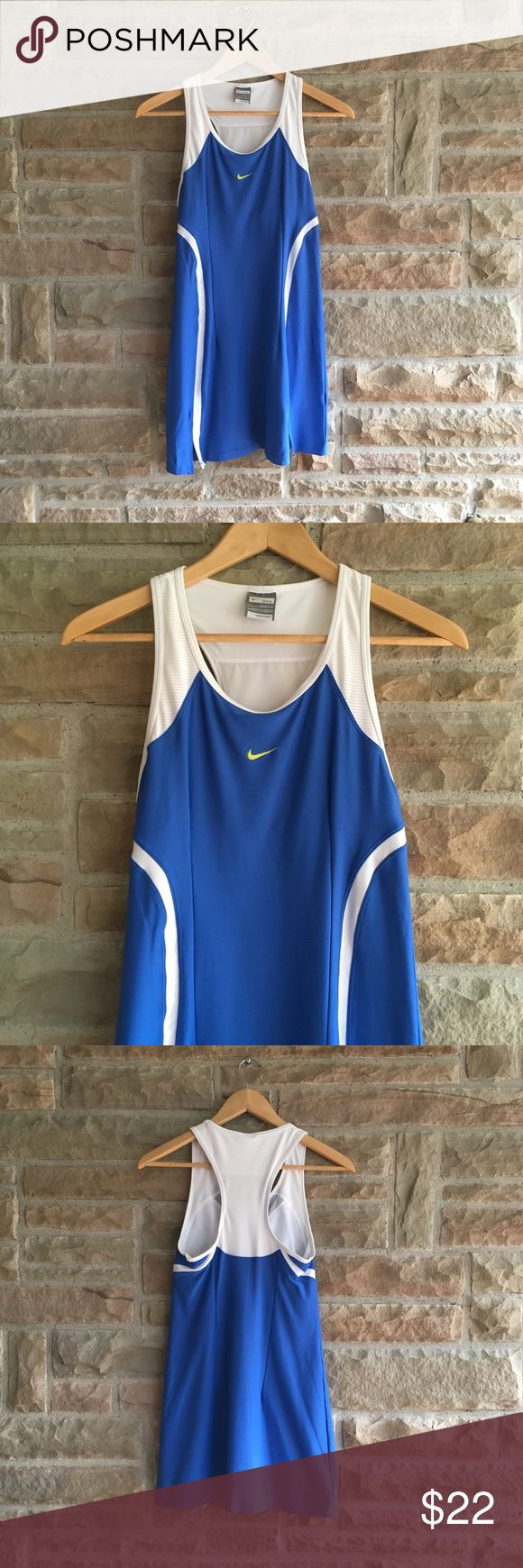 """Nike Dri-Fit Tennis Athletic Dress Blue & White S Nike Dri-Fit tennis/athletic dress. Size S 4-6. Super stretchy with a built in bra. Blue & white. Excellent condition except for two small lighter colored marks on the back of the dress (reflected in price). See 4th picture.  Approximate measurements: bust-27"""", length-30"""" Nike Dresses Mini"""