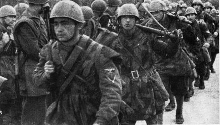 Young Italian SS legionere wearing an m43 style hat and ...
