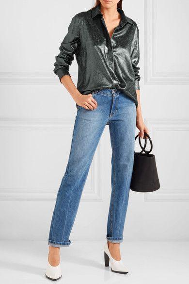 Jil Sander - Silk-blend Lamé Shirt - Silver - FR38