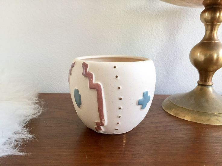 Southwestern Candle Votive / Desert Native Ceramic Candle Holder / Porcelain Geometric Candleholder Cup / Small Tea Light Candle Holder Cup by ShopRachaels on Etsy https://www.etsy.com/listing/513374887/southwestern-candle-votive-desert-native