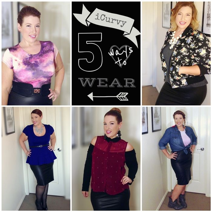 Loving this post! 5 Ways to Wear a Faux Leather Pencil Skirt with iCurvy!