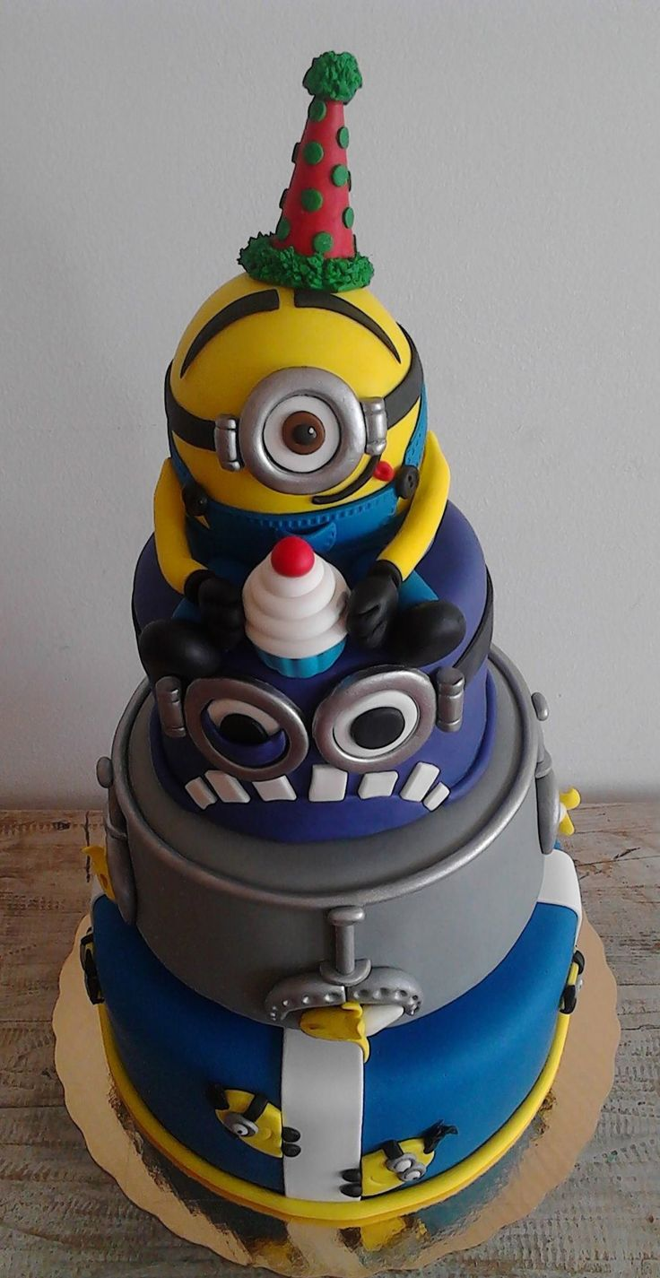 Minion Birthday Cake, 3 Tiers, Minion, Yellow - CakeCentral.com