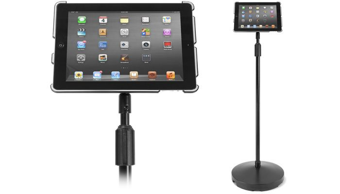 Newer Technology GripBase Podium floor stand for Apple iPad. Raise your iPad from 38 inches to nearly five feet, swivel it 360° and position it at virtually any angle for accessing music or song lists in the recording studio, making presentations in the classroom or boardroom, even reading or watching movies in bed.