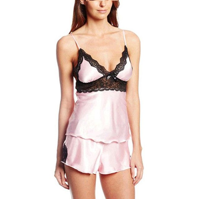 Sexy Women's Pajamas Vest and Shorts Pijama Pyjamas Women Femme Homewear Black Solid Fashion Nightgown Sleepwear