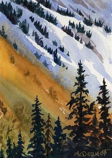 Mark McDermott WATERCOLOR Rockies Sunset