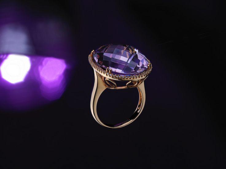 18 ct rose gold pink amethyst & diamond ring