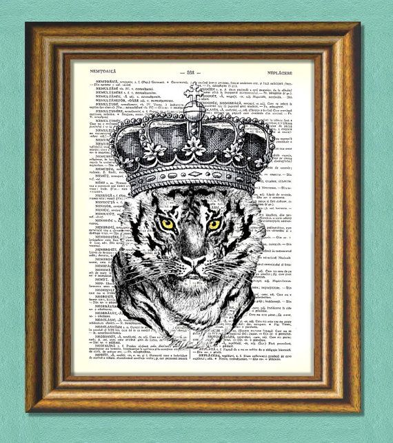 TIGER KING   Dictionary art Vintage art book by littlevintagechest, $7.99