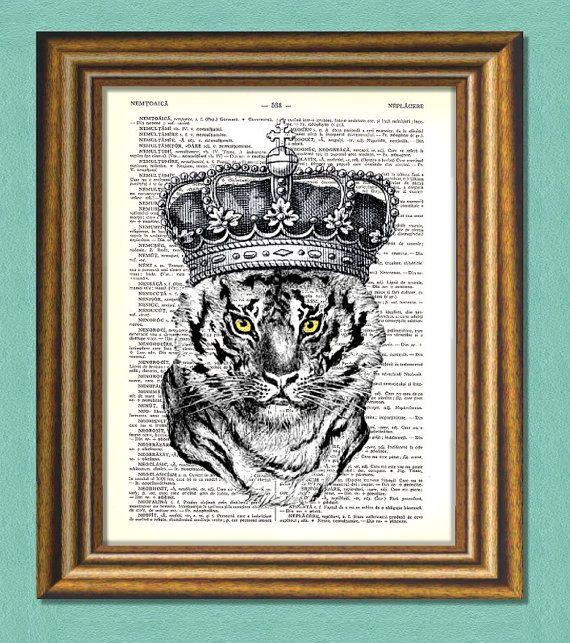TIGER KING   Dictionary art Vintage art book by littlevintagechest, $7.99