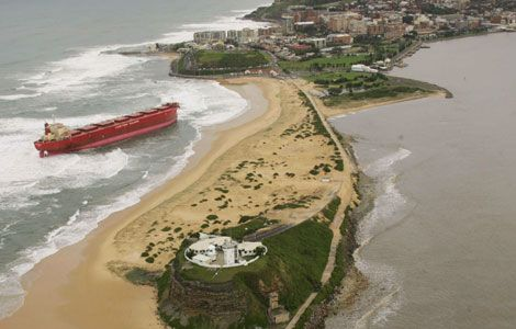 The coal ship Pasha Bulker which ran aground during a wild storm at Nobbys Beach, Newcastle, NSW, on June 8 2007