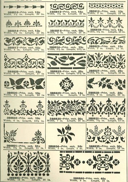 Stencils from a 1915 Wards Paint catalog. It'd be interesting to work some of these designd in crochet.
