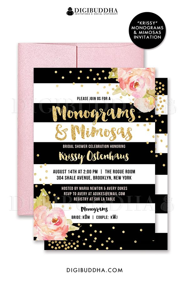 Black And Gold Wedding Shower Invitations Monograms Mimosas Invitation Bridal Shower Invite Pink