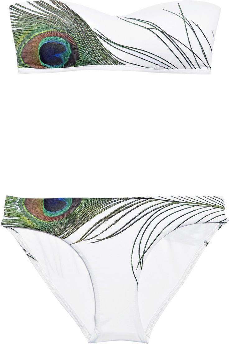 Pretty JETS by Jessika Allen|Regal Peacock printed bandeau bikini|NET-A-PORTER.COM
