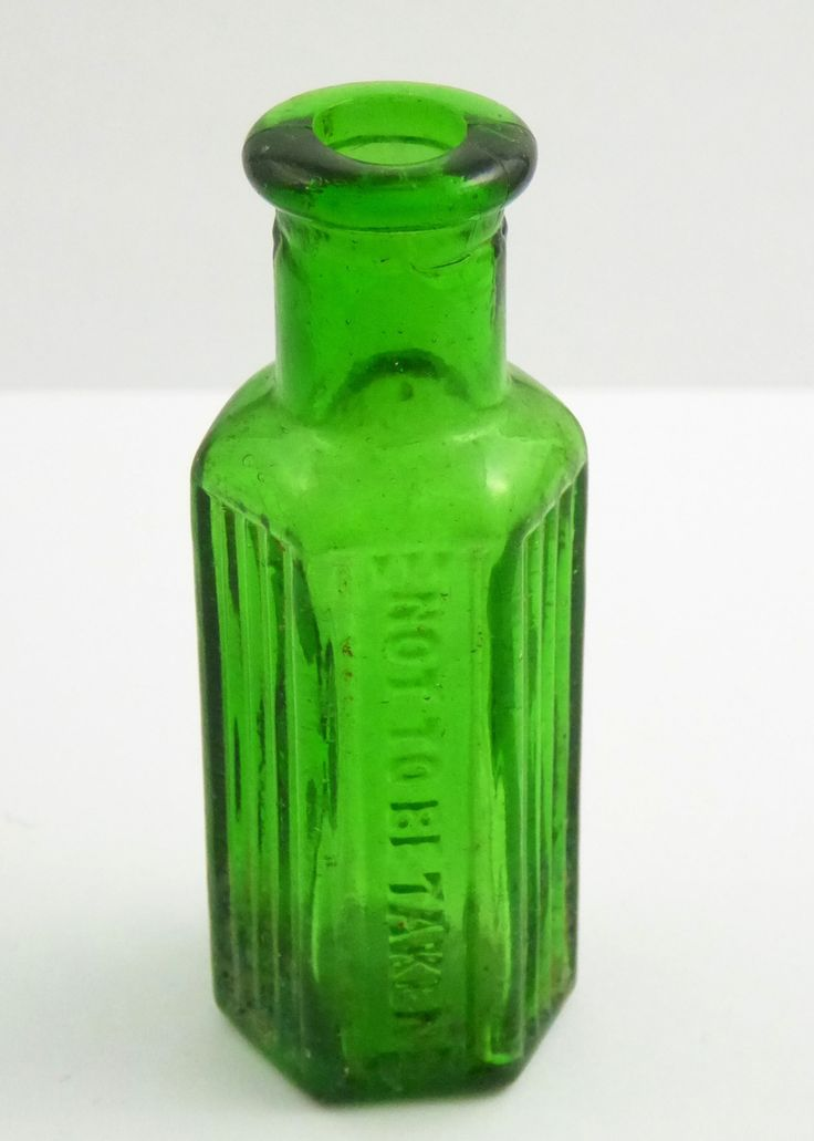 Beautiful Small Green Glass Antique 1800s Poison Bottle Embossed 'Not to be Taken' - The Collectors Bag