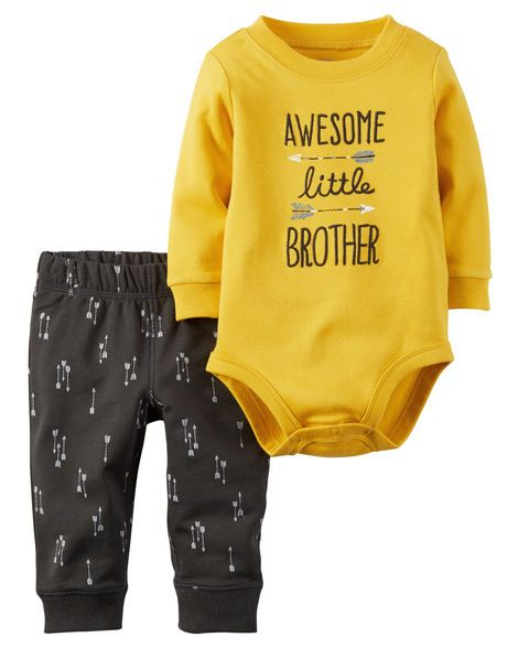 Complete with cozy terry pants in a fun print, little brother is playdate ready in this awesome 2-piece set.