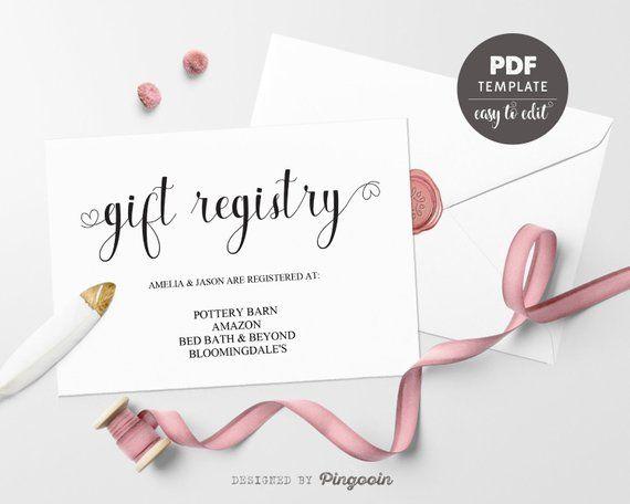 Gift Registry Card Template Wedding Insert Printable Editable Pdf Wta03